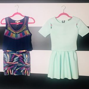 Dresses & Skirts - 2! Two piece crop top & skirt outfits!
